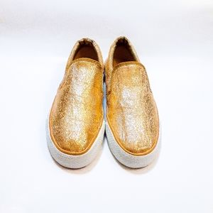 Chic Gold Slip On Sneakers